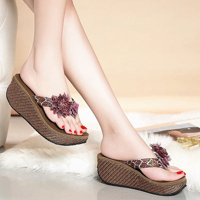 Women Wedge Platform Flip Flops Big Flower