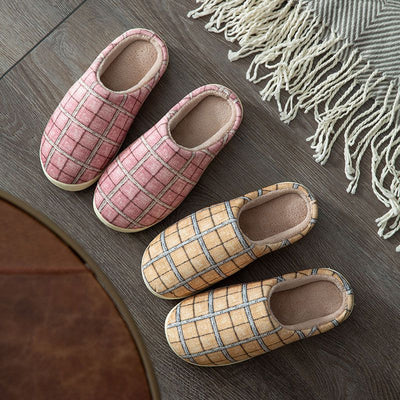 Men Women Plaid House Slippers