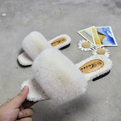 Women Fur Slide Slippers Sexy