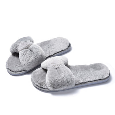 Women Fur Slippers House Sandals Big Bow