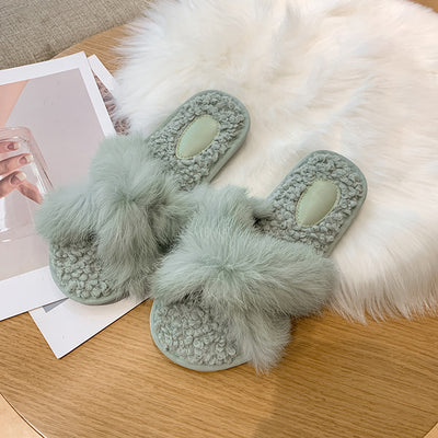 Women Lamb Wool Cross Slippers