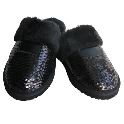 Women's Black Slippers Closed toe 2019 Winter Sandals