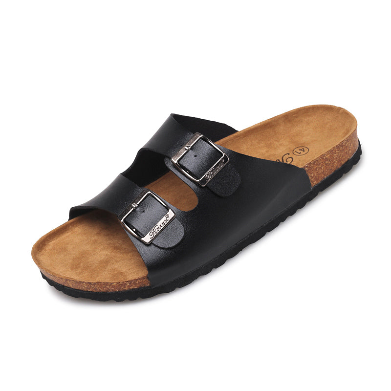 Women Men Cork Sandals Two Straps
