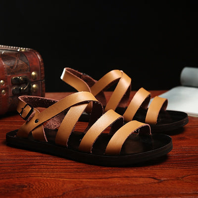 Men's Sandals Summer Non-slip Genuine Leather Shoes 2020 New Arrival