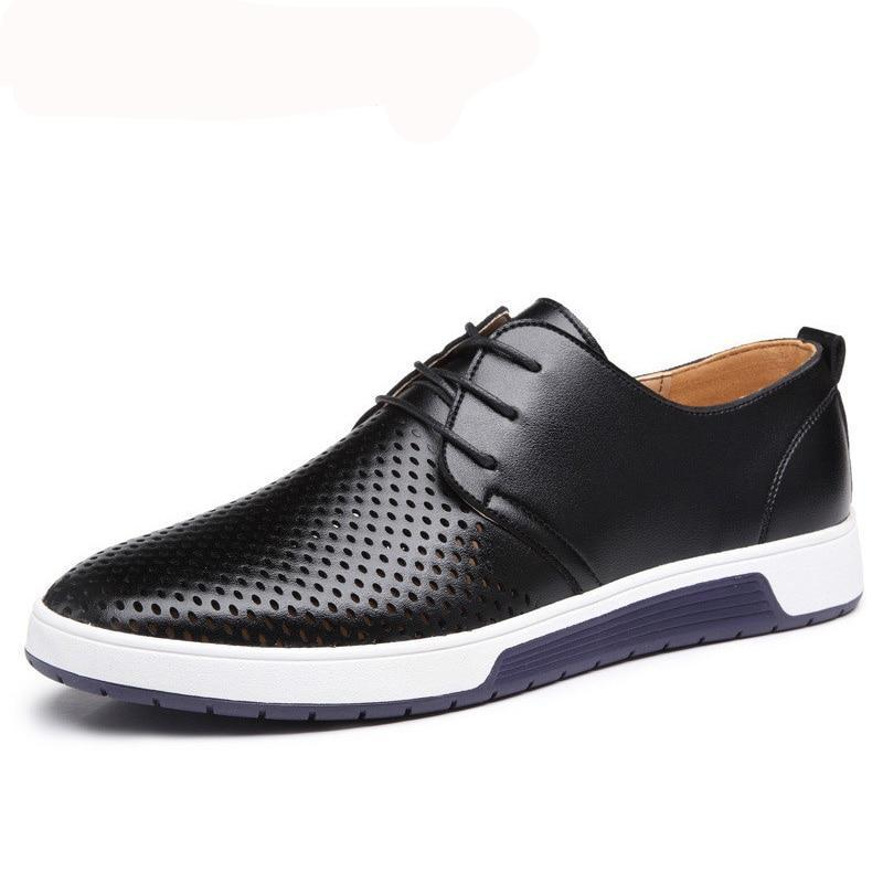 Men Casual Shoes Leather Summer Breathable 2020 New