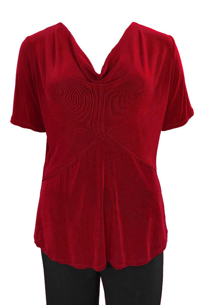 Cowl Neck Top Short Sleeves Red