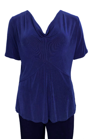 Cowl Neck Top Short Sleeves Cobalt Blue