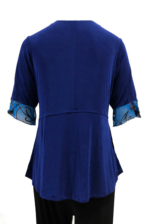 Drape top Blue with turquoise silk