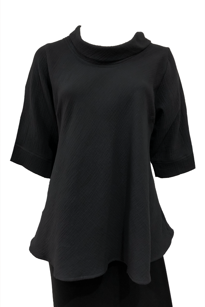 plus size black cotton top