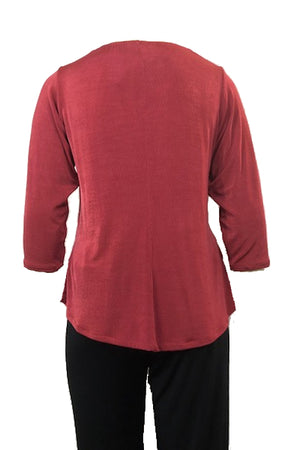 Cowl Neck top Burnt Rose 3/4 sleeves