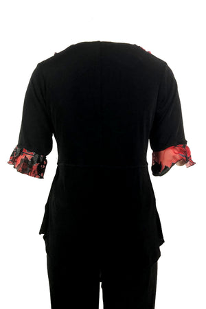 Drape top Black with Red Art Nouveau trim