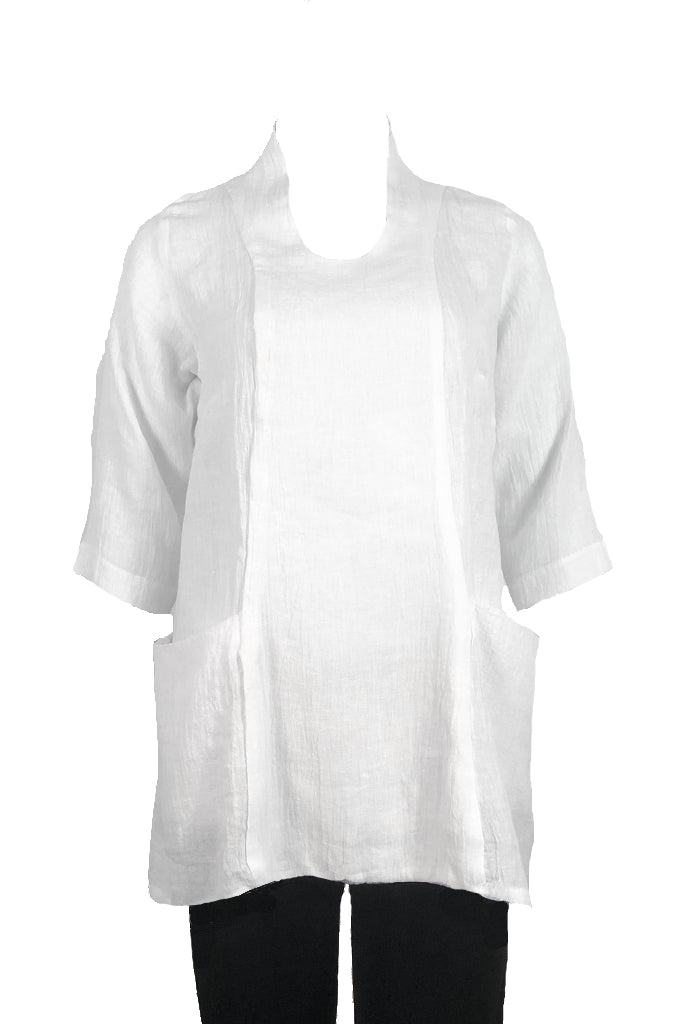 Slouch top White Crinkle Linen