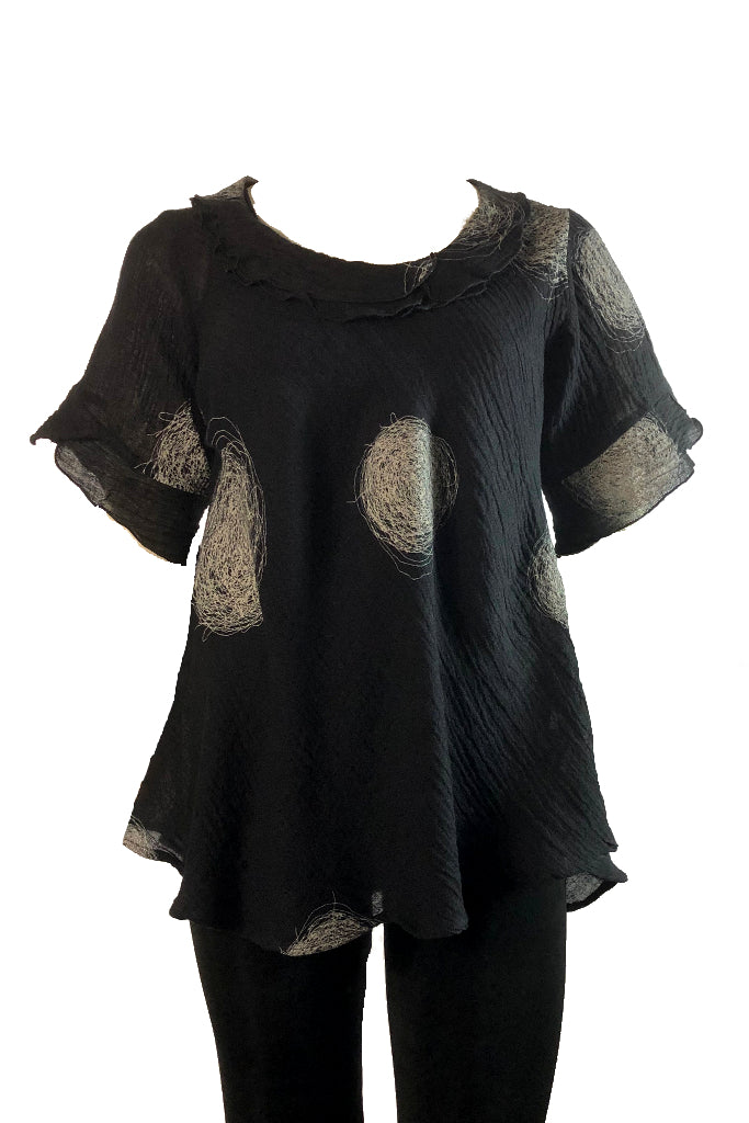 Bella top Black Crinkle linen with Swirl