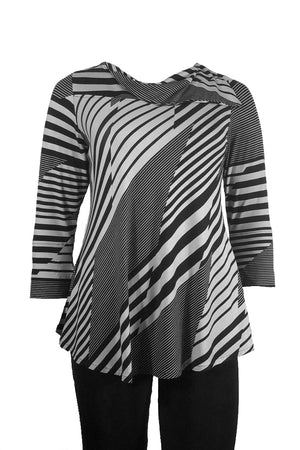 Flapper top Funky black/charcoal geometric