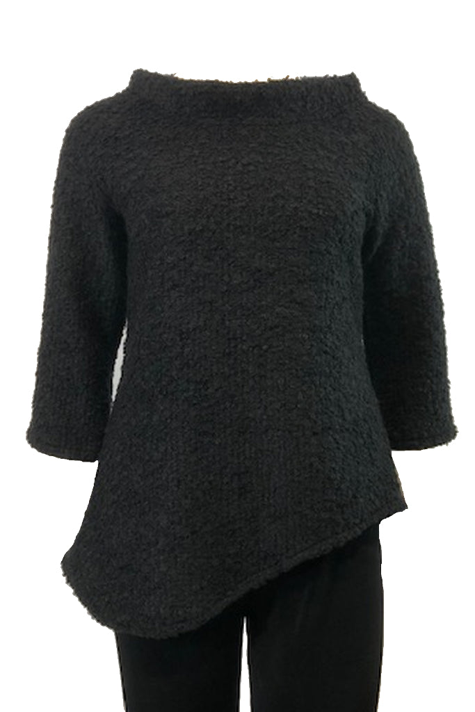 Funnel Neck Top  Black Boucle