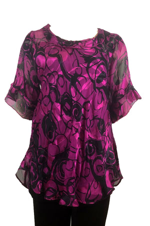 Bella top Fuschia/Ink Silk satin