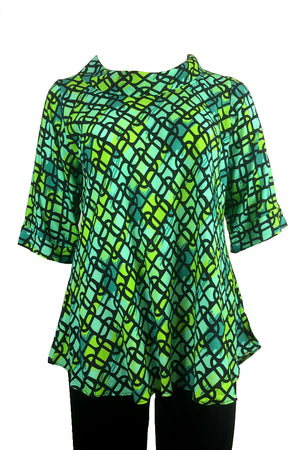 Roll Neck top: 70's green print