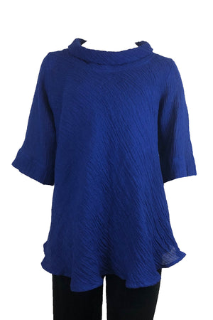 Roll Neck top Blue Crinkle Linen