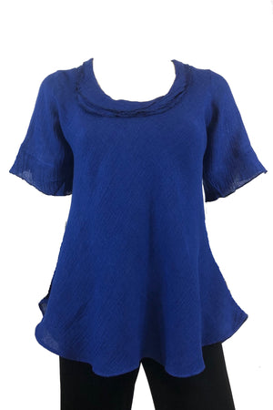 Bella top Cobalt Blue Crinkle linen