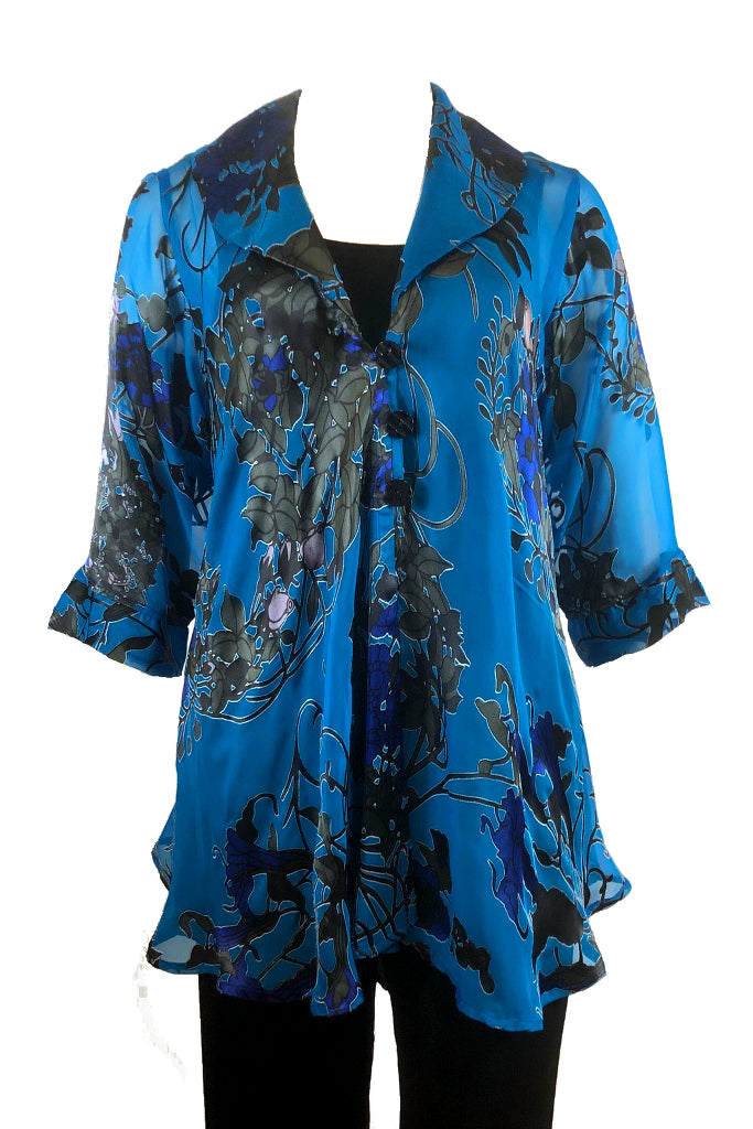 Cabaret Coat  Blue Art Nouveau