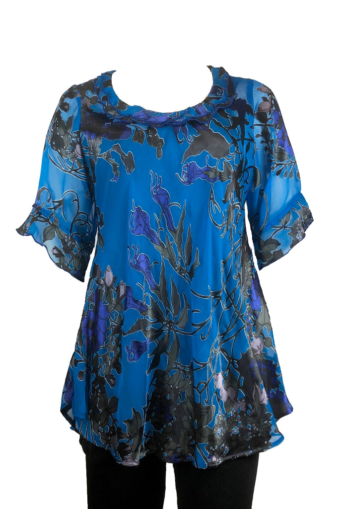 Bella top Blue Art Nouveau silk satin burnout