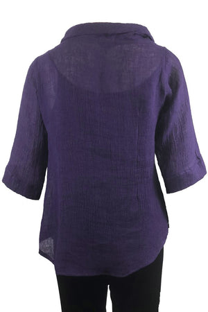 Roll Neck top Purple Crinkle Linen