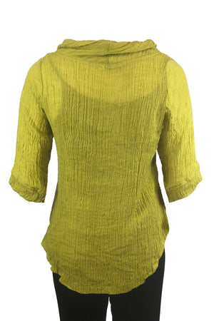 Roll Neck top Chartreuse Crinkle Linen