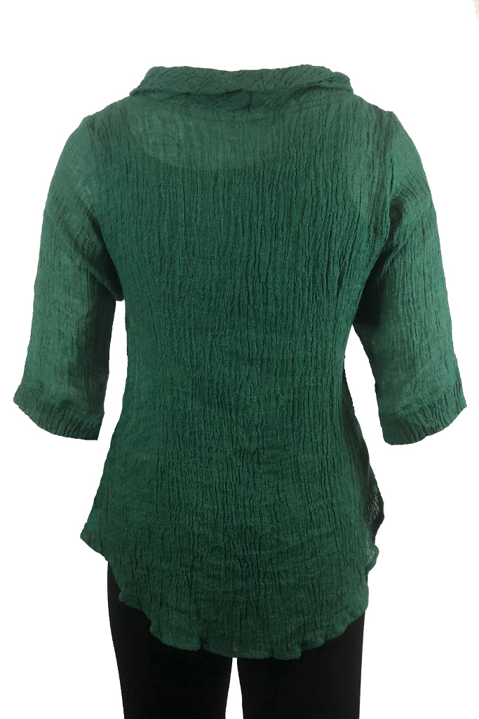 Roll Neck top Dark Green Crinkle Linen