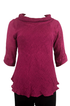 Roll Neck top Crimson Crinkle Linen