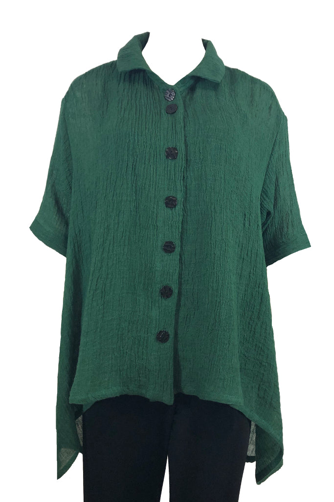 Capri Shirt Dark Green Linen