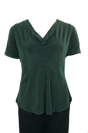 Cowl Neck Top Short sleeve British Racing Green
