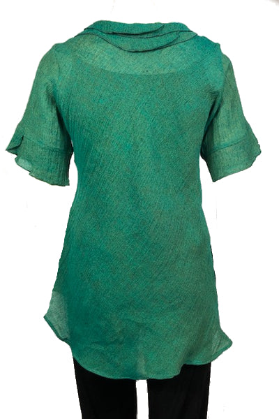 Bella top Shot Green Crinkle