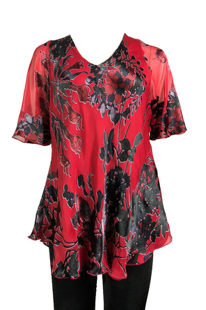 Slash top Red Silk Chiffon burnout