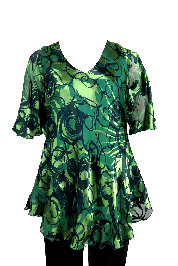Slash top Green silk chiffon burnout