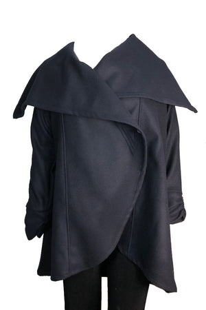 Cape Jacket Indigo Wool Felt