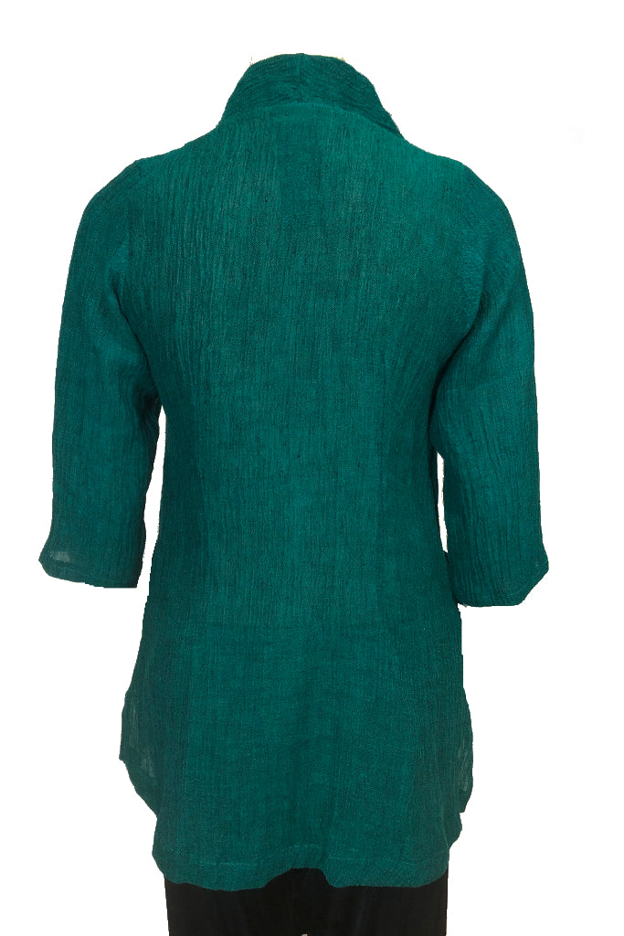 Slouch top Forrest Green Crinkle Linen