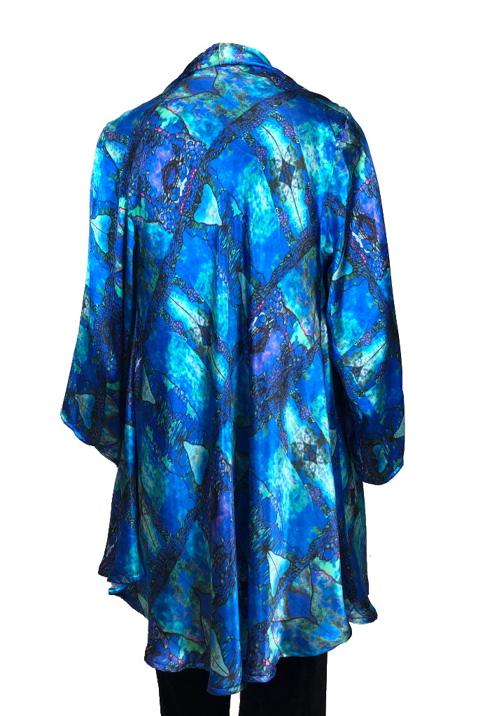 Sleeved hip coat Tiffany Window print