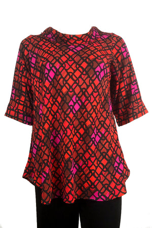 Roll Neck top: 70's Red print