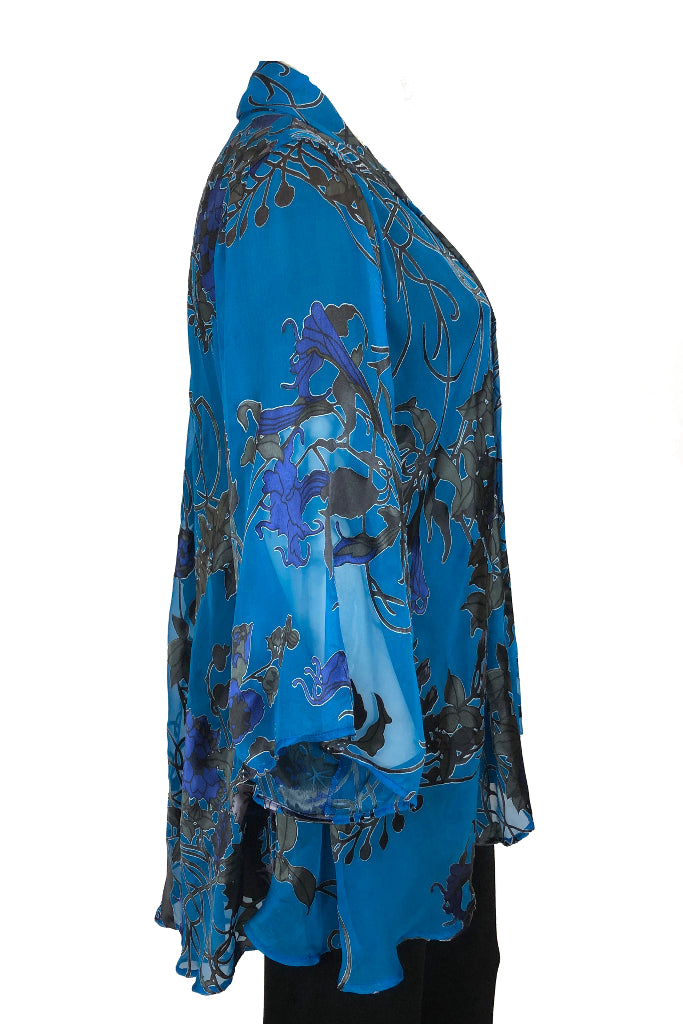 Sleeved hip coat Blue Art Nouveau Silk Satin