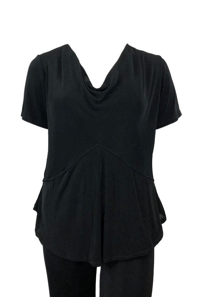 Cowl Neck Top short sleeves Black