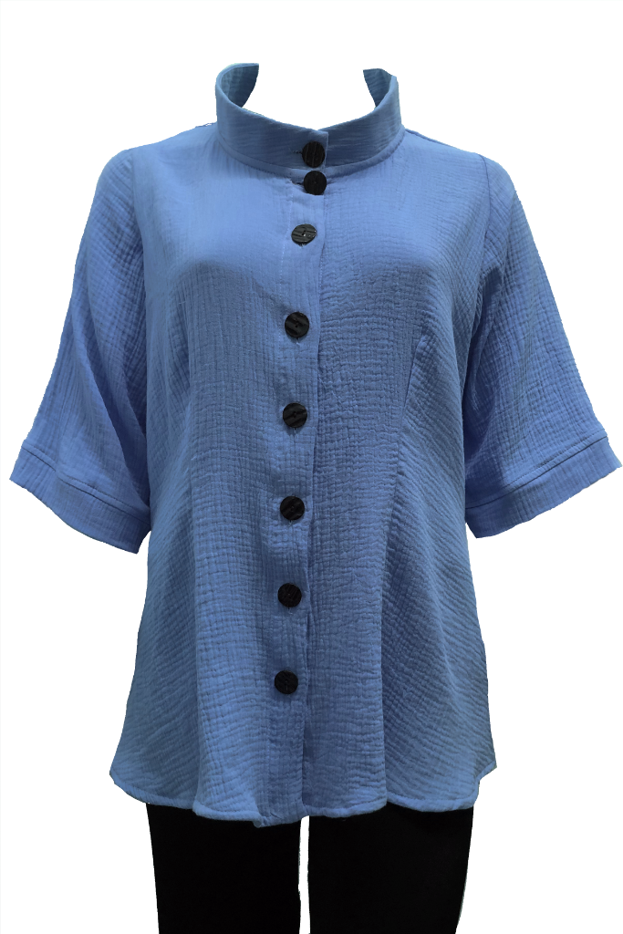 plus size blue cotton shirt