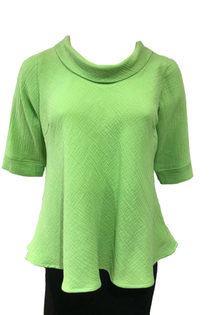Roll Neck top Lime Waffle Cotton