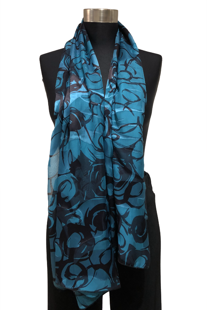 Scarf: Jade Silk satin burnout