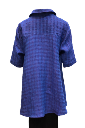 Capri Shirt Blue/purple seersucker Linen