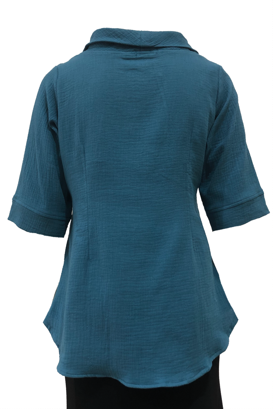 Roll Neck top Teal Waffle Cotton