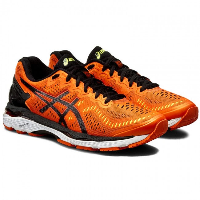the latest e272e 8f937 Asics Men's Gel-Kayano 23 Width D Running Shoes in Flame  Orange/Black/Safety Yellow