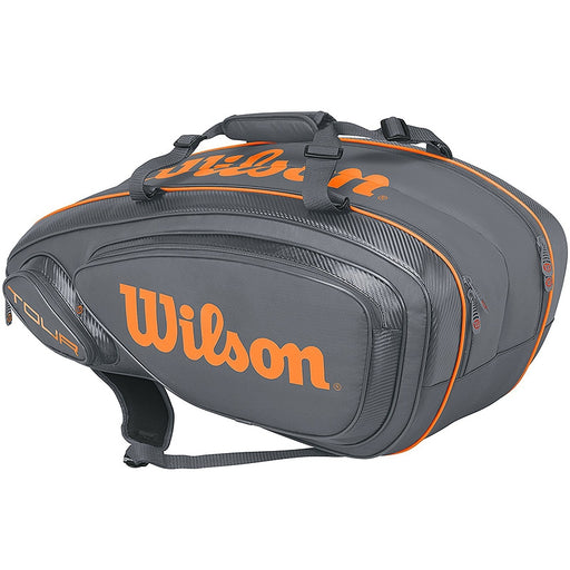 Wilson Tour V 9 Pack  Racquet Bag in Gray/Orange - atr-sports
