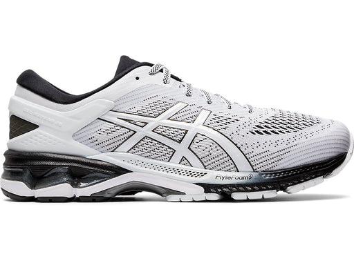 Asics Men's Gel-Kayano 26 Running Shoes in White/Black
