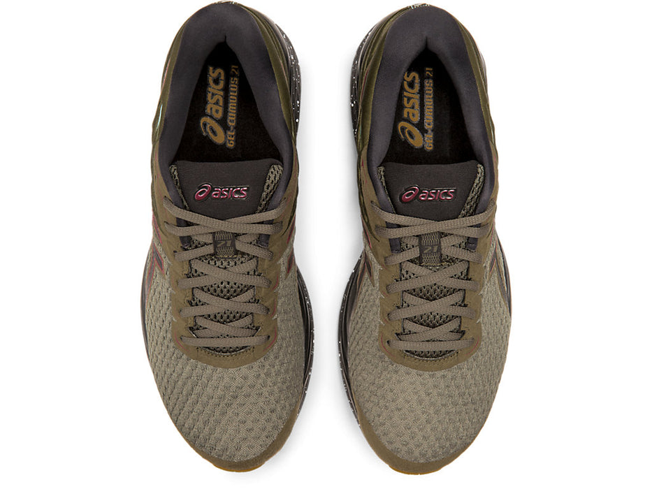 Asics Men's Gel-Cumulus 21 Winterized Running Shoes in Olive Canvas/Black - atr-sports