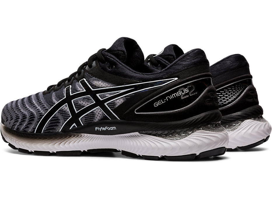 Asics Men's Gel-Nimbus 22 (2E) Running Shoes in White/Black